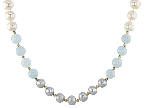 Photo of 9.5-10.5mm Cultured Freshwater Pearl & Aquamarine 18k Yellow Gold Over Silver 18 Inch Necklace - Size 18