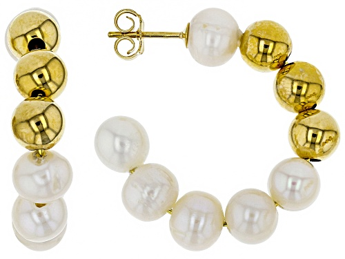 Photo of 6-6.5mm White Freshwater Pearl 18k Yellow Gold Over Sterling Silver Hoop Earrings