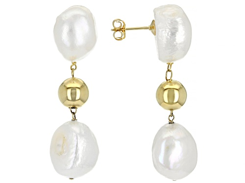 Photo of 12-12.5mm White Cultured Baroque Freshwater Pearls 18k Yellow Gold Over Silver Drop Earrings
