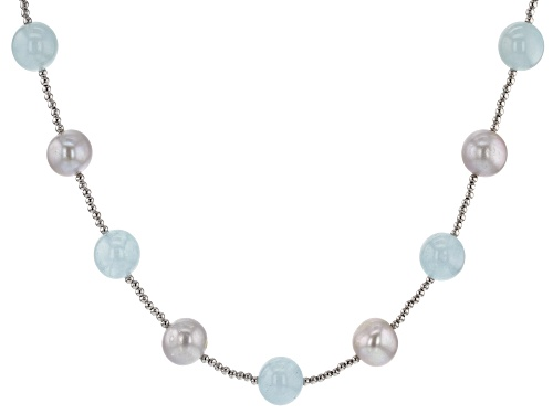 Photo of 9.5-10.5mm Silver Freshwater Pearl & Aquamarine Rhodium over Sterling Silver 28 inch Necklace - Size 28