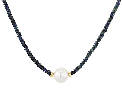Photo of 12-12.5mm White Cultured Freshwater Pearl and Blue Ombre Sapphire 18 inch Necklace - Size 18
