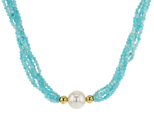 Photo of 12-12.5mm White Freshwater Pearl and Blue Amazonite Multi-Strand Twisted 18 inch Necklace - Size 18