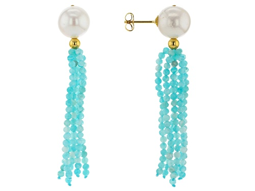 Photo of 10.5-11m White Freshwater Pearl &  Blue Amazonite 18k Yellow Gold Over Silver Tassel Earrings