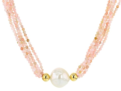 Photo of 12-12.5mm White Freshwater Pearl and Pink Opal Multi-Strand Twisted 18 inch Necklace - Size 18