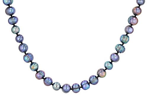 Photo of 7.5-8.5mm Round Cultured Black Freshwater Pearl Endless Strand 80 inch Necklace - Size 80