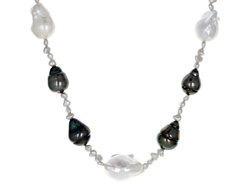 Photo of 3-15mm Cultured Tahitian and Freshwater Pearl Rhodium over Sterling Silver 18 inch Necklace - Size 18