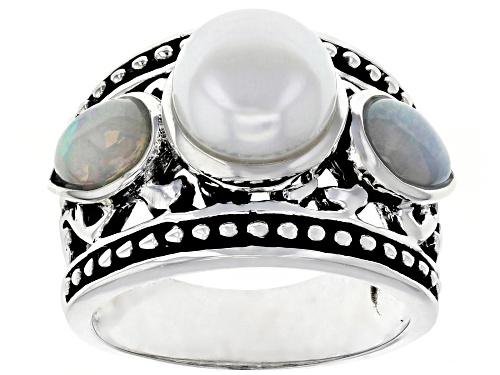 Photo of 8.5-9mm White Cultured Freshwater Pearl & .86ctw Opal Rhodium Over Sterling Silver Ring - Size 5