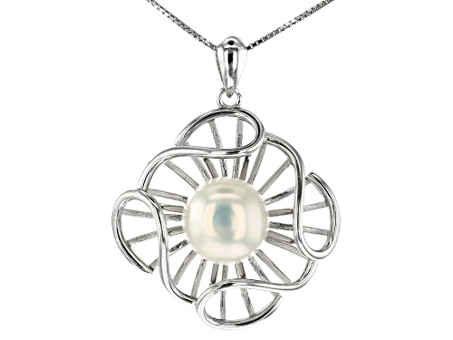 Photo of 10-11mm White Cultured Freshwater Pearl Rhodium Over Silver Floral Pendant with 18 inch Box Chain
