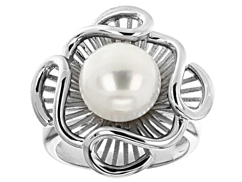 Photo of 10-11mm White Cultured Freshwater Pearl Rhodium Over Sterling Silver Floral Ring - Size 8
