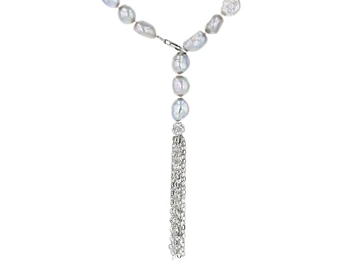 Photo of 7-8mm Silver Cultured Freshwater Pearl Rhodium Over Sterling Silver Tassel Drop 24 inch Necklace - Size 24