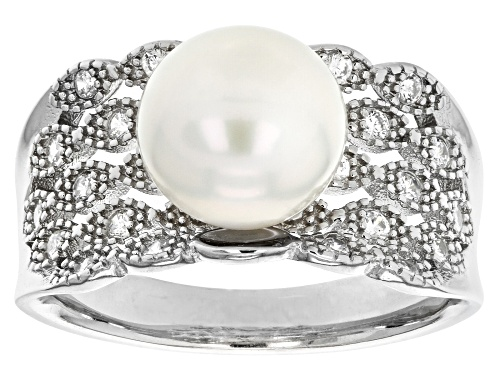 Photo of 9-10mm White Cultured Freshwater Pearl 0.6ctw Bella Luce® Rhodium Over Sterling Silver Ring - Size 9