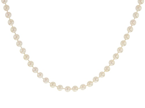 Photo of 6-6.5mm White Cultured Japanese Akoya Pearl Rhodium over Sterling Silver 18 inch Strand Necklace - Size 18