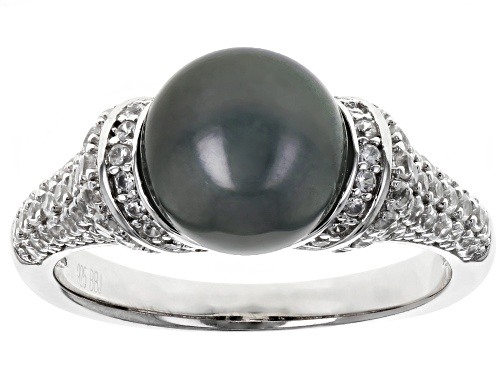 Photo of 8.5-9.0mm Cultured Tahitian Pearl & 1.01ctw White  Zircon Rhodium Over Sterling Silver Ring - Size 11