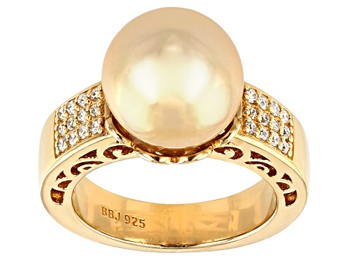 Photo of 11-11.5mm Golden Cultured South Sea Pearl & Moissanite Fire® 18k Yellow Gold Over Silver Ring - Size 11