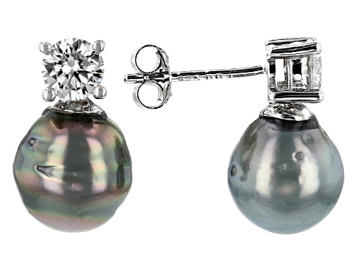 Photo of 8mm Cultured Tahitian Pearl & Moissanite Fire® .66ctw Dew Rhodium Over Sterling Silver Earrings