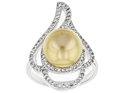 Photo of 10mm Cultured Golden South Sea Pearl And .57ctw White Topaz Rhodium Over Sterling Silver Ring - Size 12
