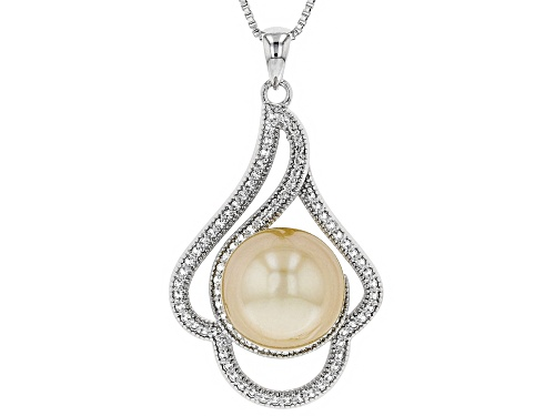Photo of 11mm Cultured Golden South Sea Pearl And 0.62ctw White Topaz Rhodium over Sterling Silver Pendant