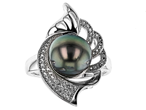 Photo of 10mm Cultured Tahitian Pearl 0.31ctw White Topaz Rhodium Over Sterling Silver Ring - Size 7