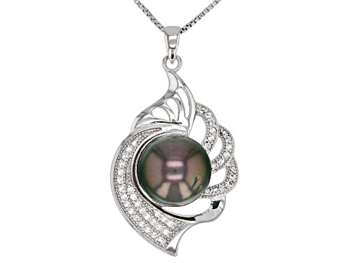 Photo of 11mm Cultured Tahitian Pearl 0.31ctw White Topaz Rhodium over Silver Pendant with Chain