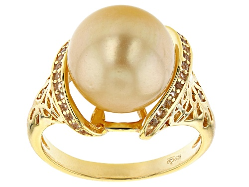 Photo of 11mm Cultured Golden South Sea Pearl 0.15ctw White Topaz 18k Yellow Gold Over Sterling Silver Ring - Size 11