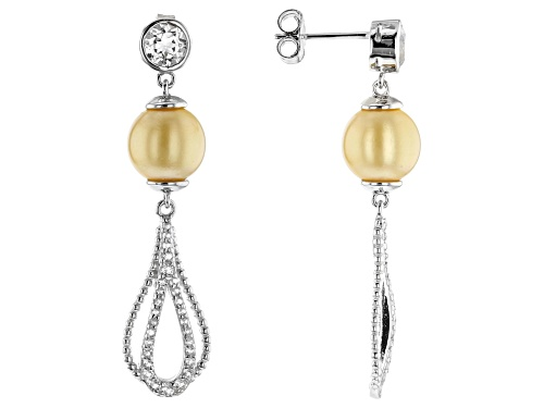 Photo of 8-9mm Cultured Golden South Sea Pearl 1.65ctw White Topaz Rhodium Over Silver Dangle Earrings