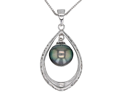 Photo of 10-11mm Cultured Tahitian Pearl Rhodium Over Sterling Silver Pendant with 18 inch Chain