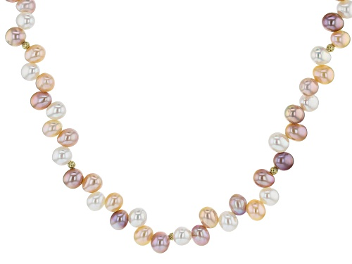 Photo of Genusis™5.5-7.5mm Multi-Color Cultured Freshwater Pearl 18k Yellow Gold Over Silver 18 inch Necklace - Size 18