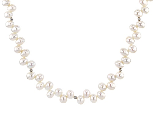 Photo of Genusis™5.5-7.5mm White Cultured Freshwater Pearl Rhodium Over Sterling Silver 18 inch Necklace - Size 18