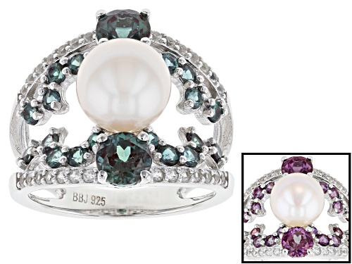 Photo of 8.5-9mm White Cultured Freshwater Pearl Lab Created Alexandrite & Zircon Rhodium over Silver Ring - Size 12