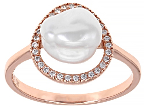 9-11mm White Cultured Keshi Freshwater Pearl Bella Luce® 0.24ctw 18k Rose Gold over Silver Ring - Size 11