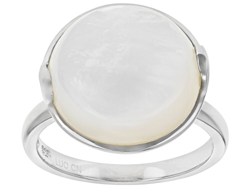 Photo of 14-14.5mm Round White Mother of Pearl Rhodium Over Sterling Silver Ring - Size 5