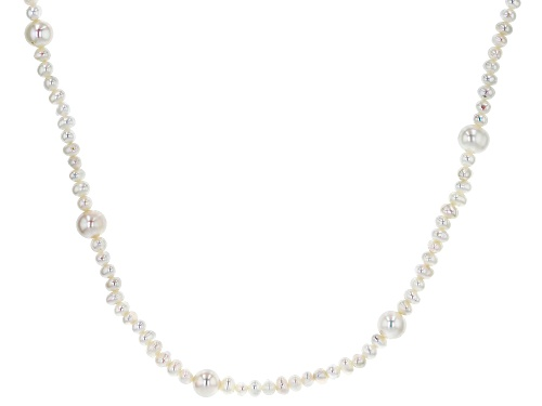 Photo of 4-9mm White Cultured Freshwater Pearl Rhodium over Sterling Silver 80 inch Station Necklace - Size 80