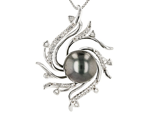 Photo of 10-11mm Cultured Tahitian Pearl With 0.32ctw White Topaz Rhodium over Silver Pendant with Chain
