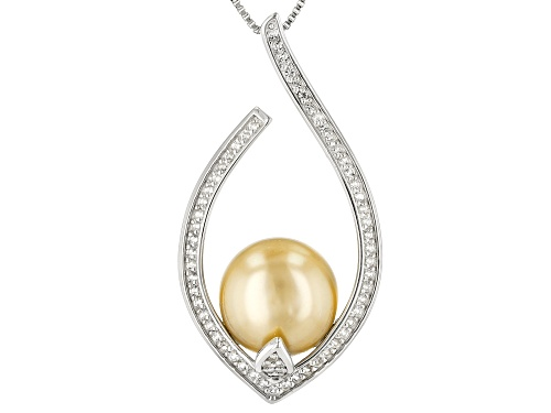Photo of 11-12mm Cultured Golden South Sea Pearl With 0.44ctw White Topaz Rhodium over Silver Pendant