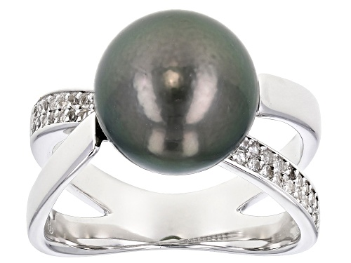 Photo of 10-11mm Cultured Tahitian Pearl With 0.28ctw White Topaz Rhodium over Sterling Silver Ring - Size 9