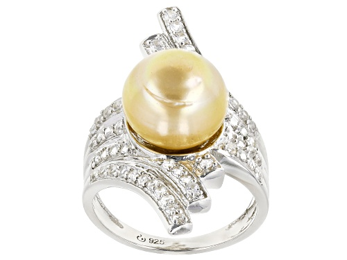 Photo of 11mm Cultured Golden South Sea With 0.83ctw White Topaz Rhodium Over Sterling Silver Ring - Size 4