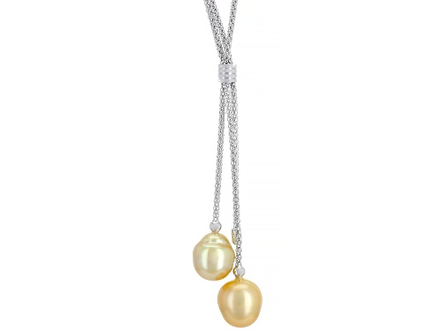 Photo of 10-11mm Cultured Golden South Sea Pearl Rhodium Over Sterling Silver 22 inch Necklace - Size 22