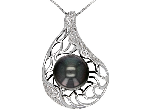 Photo of 13-14mm Cultured Tahitian Pearl 0.64ctw White Topaz Rhodium Over Silver Pendant with 18 inch Chain