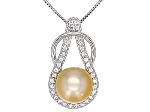 Photo of 10mm Cultured Golden South Sea Pearl 0.4ctw White Topaz Rhodium Over Sterling Silver Pendant