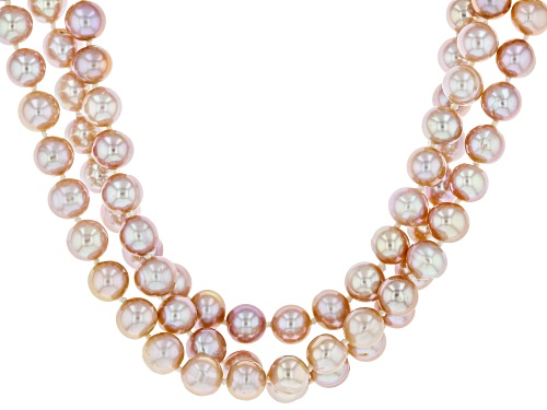 7-8mm Pink Cultured Freshwater Pearl Rhodium over Silver Three Strand 20 inch Necklace - Size 20