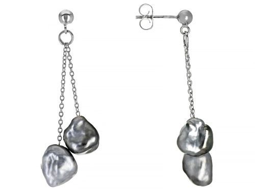Photo of 10mm Tahitian Keshi Cultured Pearl Rhodium Over Sterling Silver Dangle Earrings