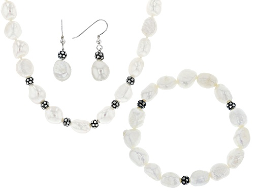 Photo of 9.5-10.5mm White Cultured Freshwater Pearl Rhodium Over Silver Necklace, Bracelet, Earrings Set