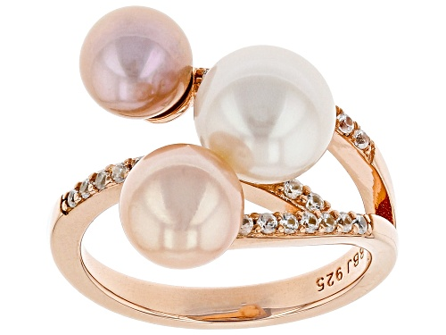 Photo of 6.5-8.5mm Multi-Color Cultured Freshwater Pearl & Zircon 18k Rose Gold Over Silver 3-Stone Ring - Size 11
