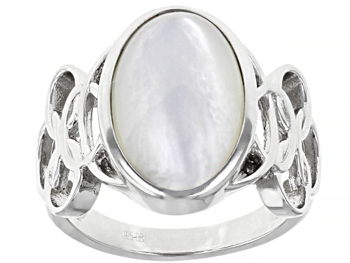 Photo of 16x10mm White Mother-of-Pearl, Rhodium Over Sterling Silver Inlay Ring - Size 10