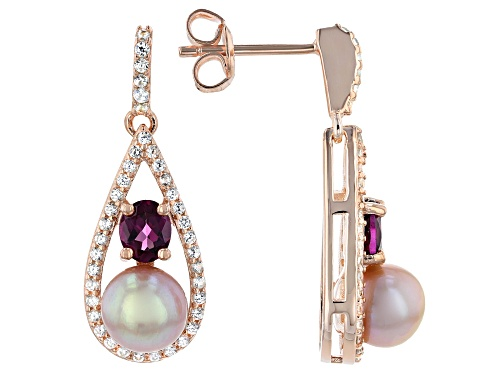 Photo of 6.5mm Cultured Freshwater Pearl With Rhodolite & Zircon 18k Rose Gold Over Sterling Silver Earrings