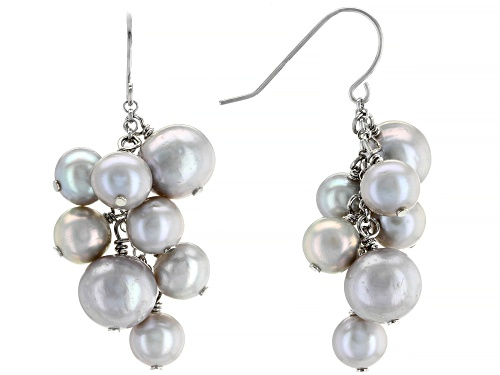 Photo of 6-8mm Cultured Freshwater Pearl Rhodium Over Sterling Silver Dangle Cluster Earrings