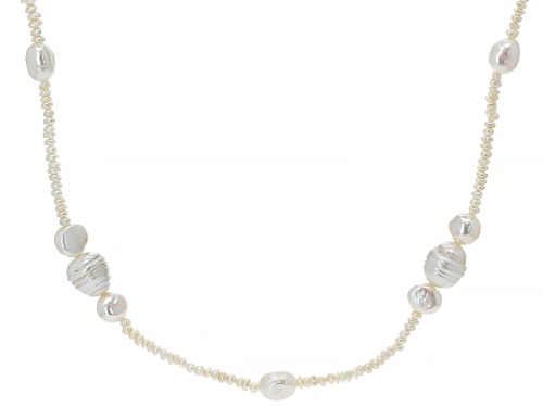 Photo of 3-11mm White Cultured Freshwater Pearl 60 Inch Endless Strand Necklace - Size 60