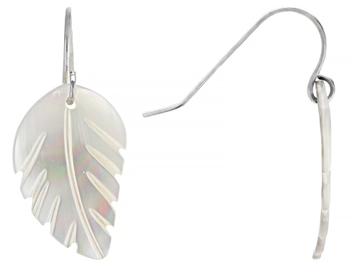 Photo of 13mm Mother of Pearl Rhodium Over Sterling Silver Earrings