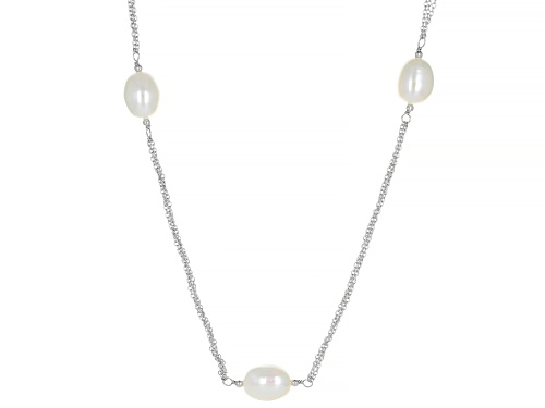 Photo of 9-10mm White Cultured Freshwater Pearl Rhodium Over Sterling Silver 36 Inch Station Necklace - Size 36