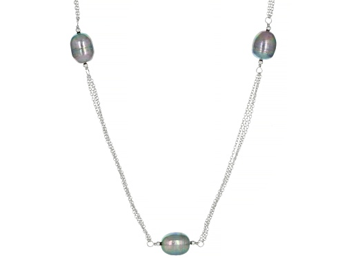 Photo of 9-10mm Black Cultured Freshwater Pearl Rhodium Over Sterling Silver 36 Inch Station Necklace - Size 36